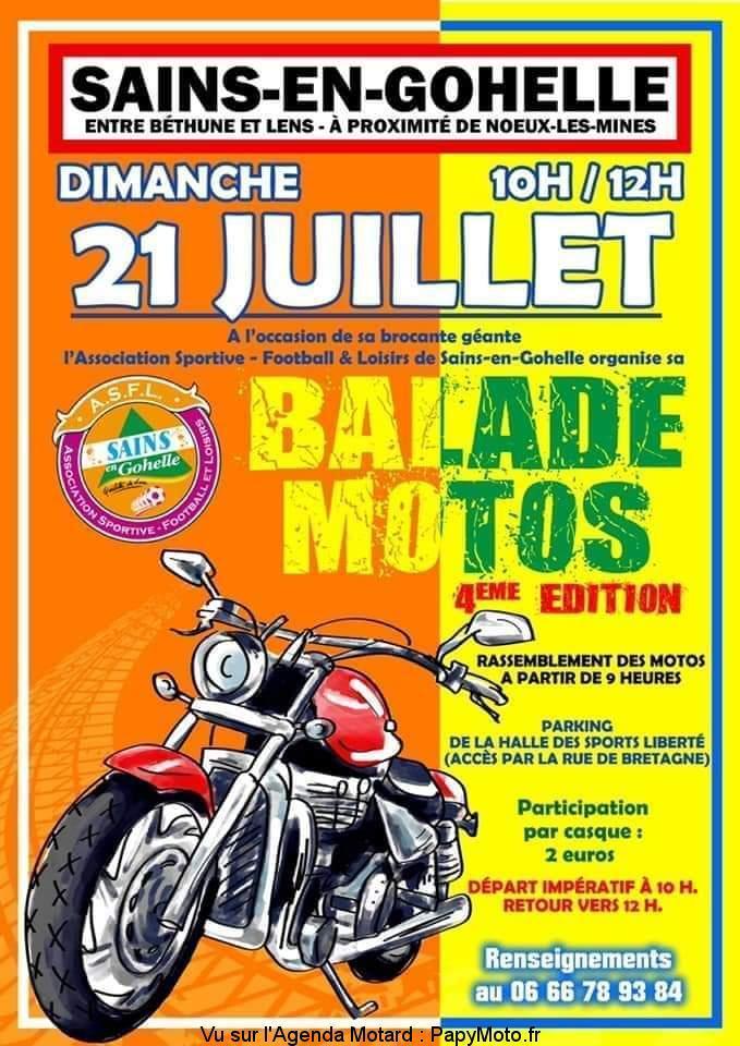 MANIFESTATION - Balade Motos - Dimanche 21 Juillet 2019 - Sains-en Gohelle (62) Balad110