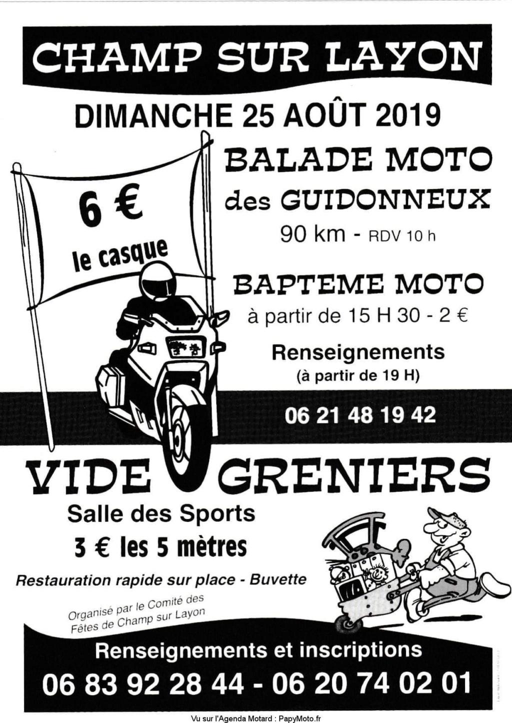 MANIFESTATION  -  Balade Moto & vide Greniers - Dimanche 25 AOUT  2019 - Champs sur Layon  Balad112