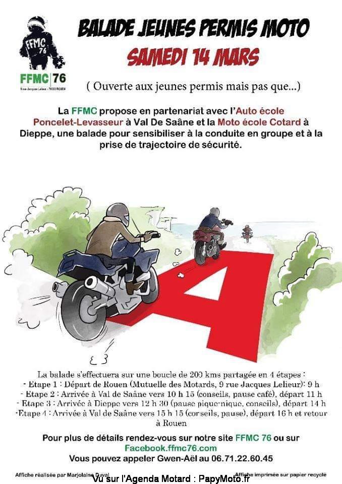 MANIFESTATION - Balade Jeunes Permis Moto - 14 Mars 2020 - Rouen (76) Balad139