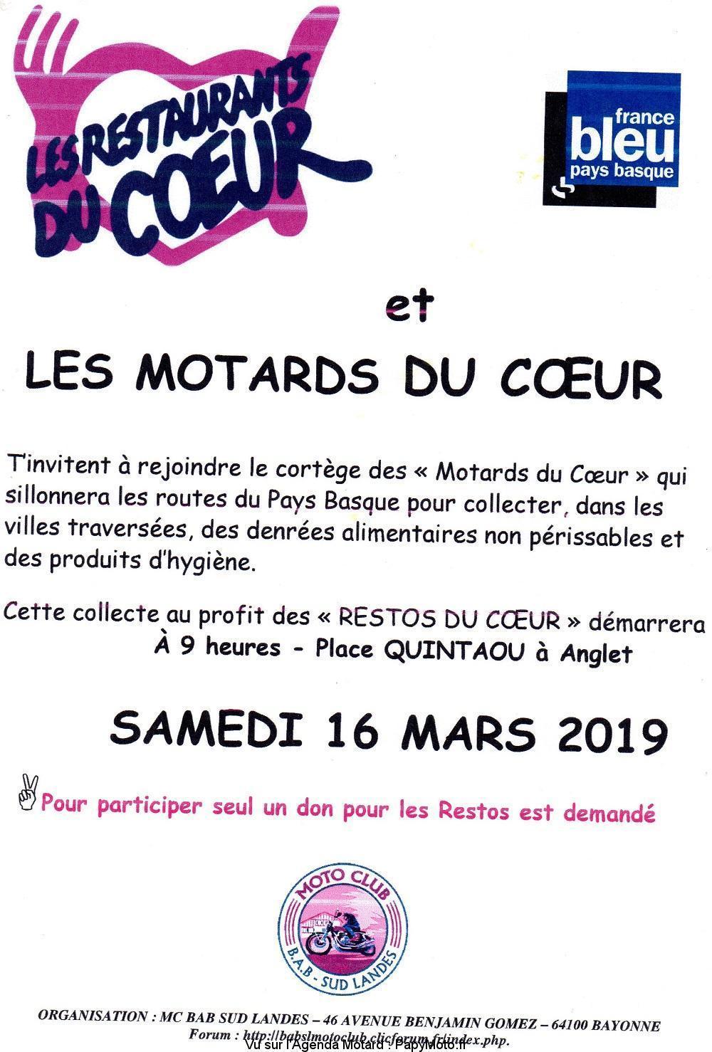 Les Motards du Coeur - Samedi 16 Mars 2019 - ANGLET (64) Balade59