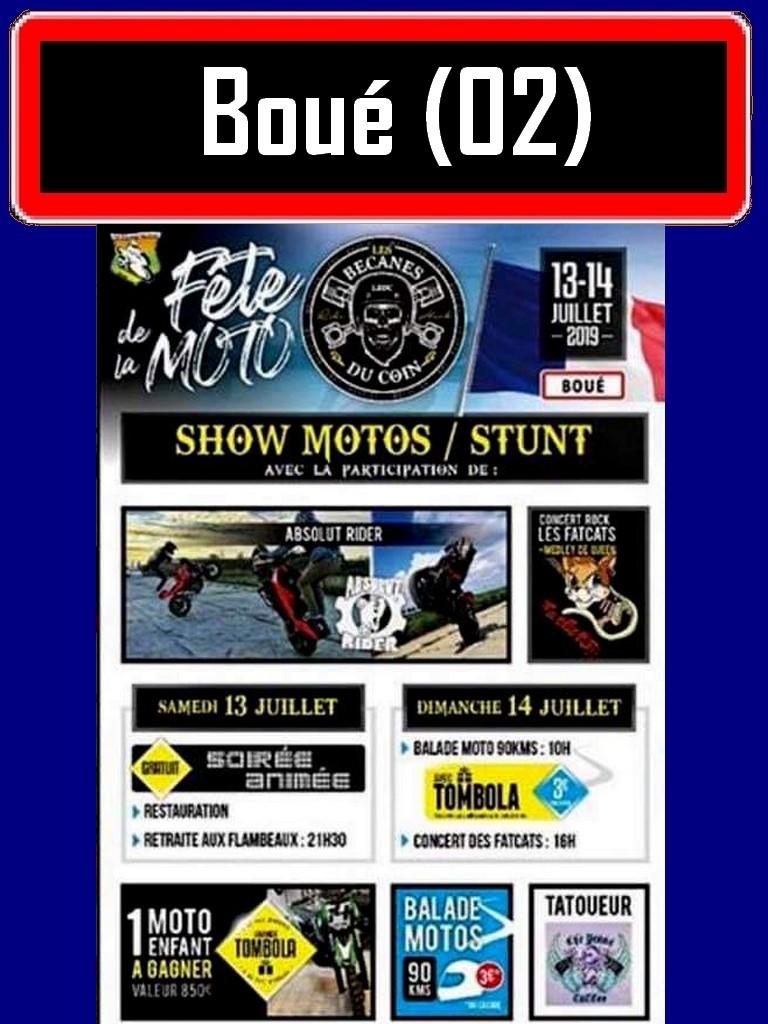 MANIFESTATION - FETE DE LA mOTO - 13 & 14 Juillet 2019 - Boué (02) Boue-f10
