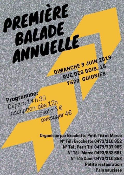 MANIFESTATION -  Première Balade Annuelle - Dimanche 9 Juin 2019 - Guignies (7620) Belgique  Guigni13