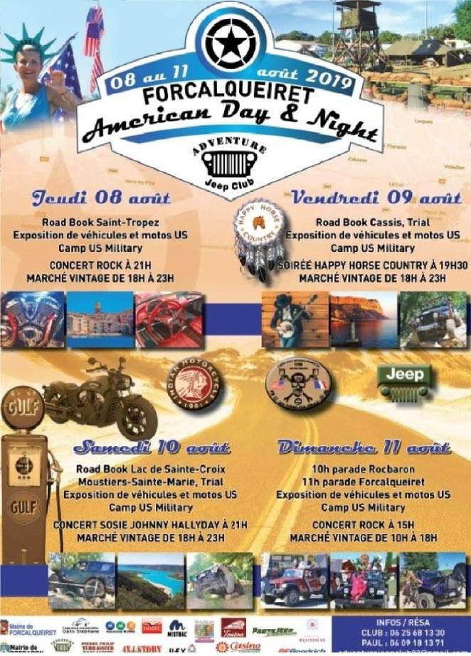 MANIFESTATION -  Américan Day & Night - du 8 au 11 AOUT 2019 - Forcalqueiret  Image174