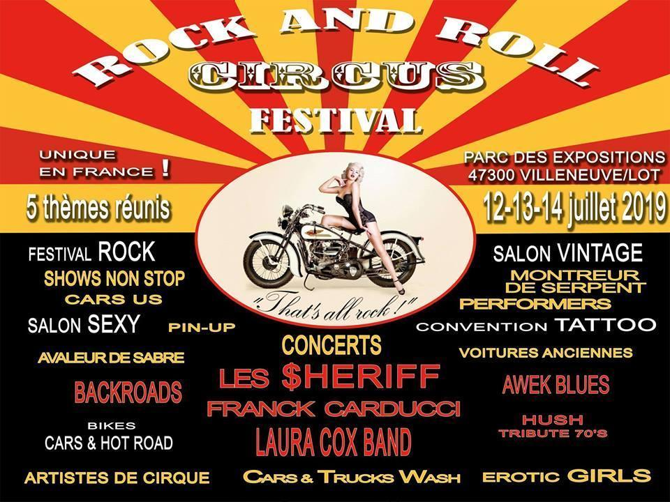 MANIFESTATION -  Rock And Roll Circus Festival - 12-13-14 Juillet 2019 - Villeneuve / Lot (47300) Rock-a14