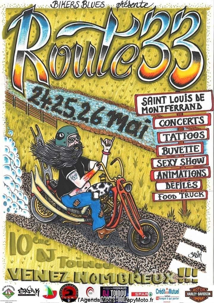 MANIFESTATION - Route 33 -    24 - 25 - & 26 Mai 2019 - saint - Louis de Monferrand Route-12
