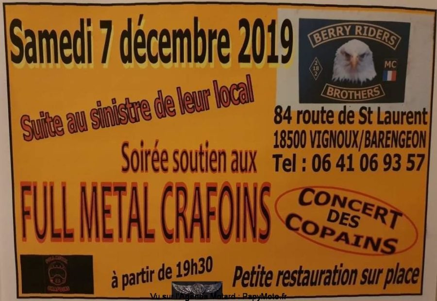 MANIFESTATION - Soirée soutien Full Métal Crafoins - 7 Décembre 2019 - Vignous/Barengeon (18500) Soirzo18