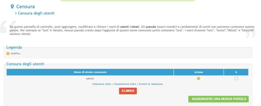 """Impedire agli utenti di usare il nickname """"admin2 2021-046"""