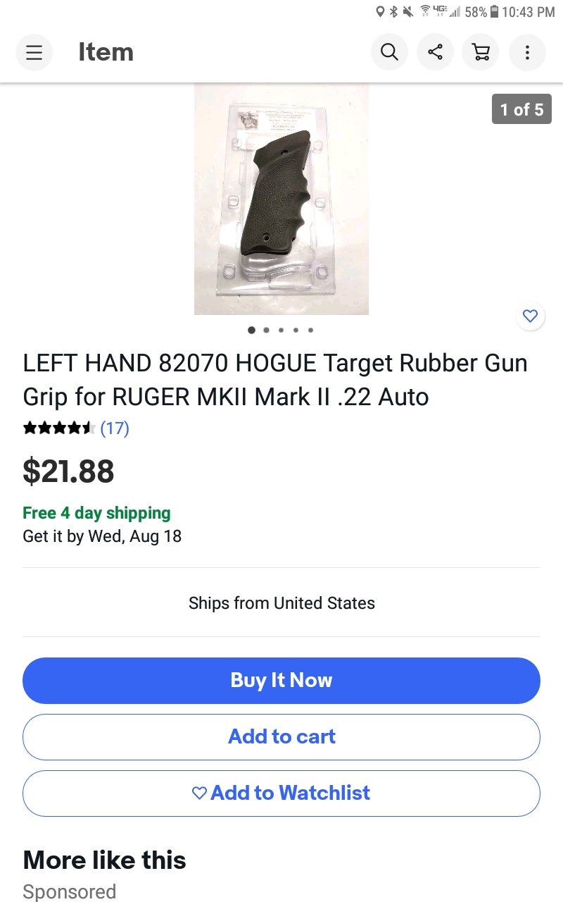 WTB Left-Hand Herrett National (or other) Grips for early Ruger Auto Screen47