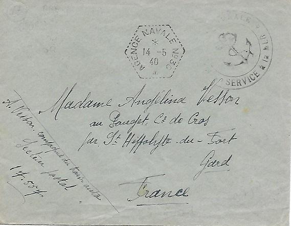 Bureau Postal Naval Temporaire N° 30 Campagne de Norvège - Narvik N3010