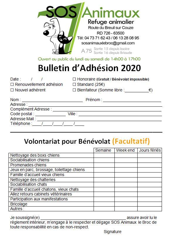 Bulletin d'Adhésion & Bénévolat Bullet11
