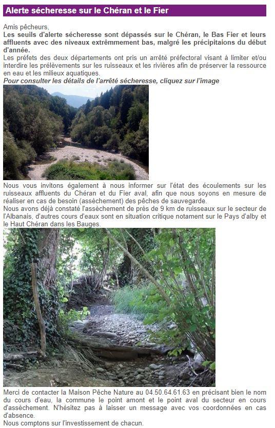 Sécheresse : la Haute-Savoie en niveau alerte Albana12