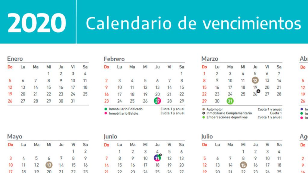 Calendario de vencimientos impositivos en la Provincia. 001118