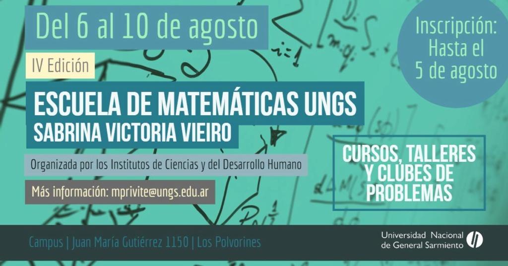 Inscripción para la IV Escuela de Matemáticas de la UNGS 00117