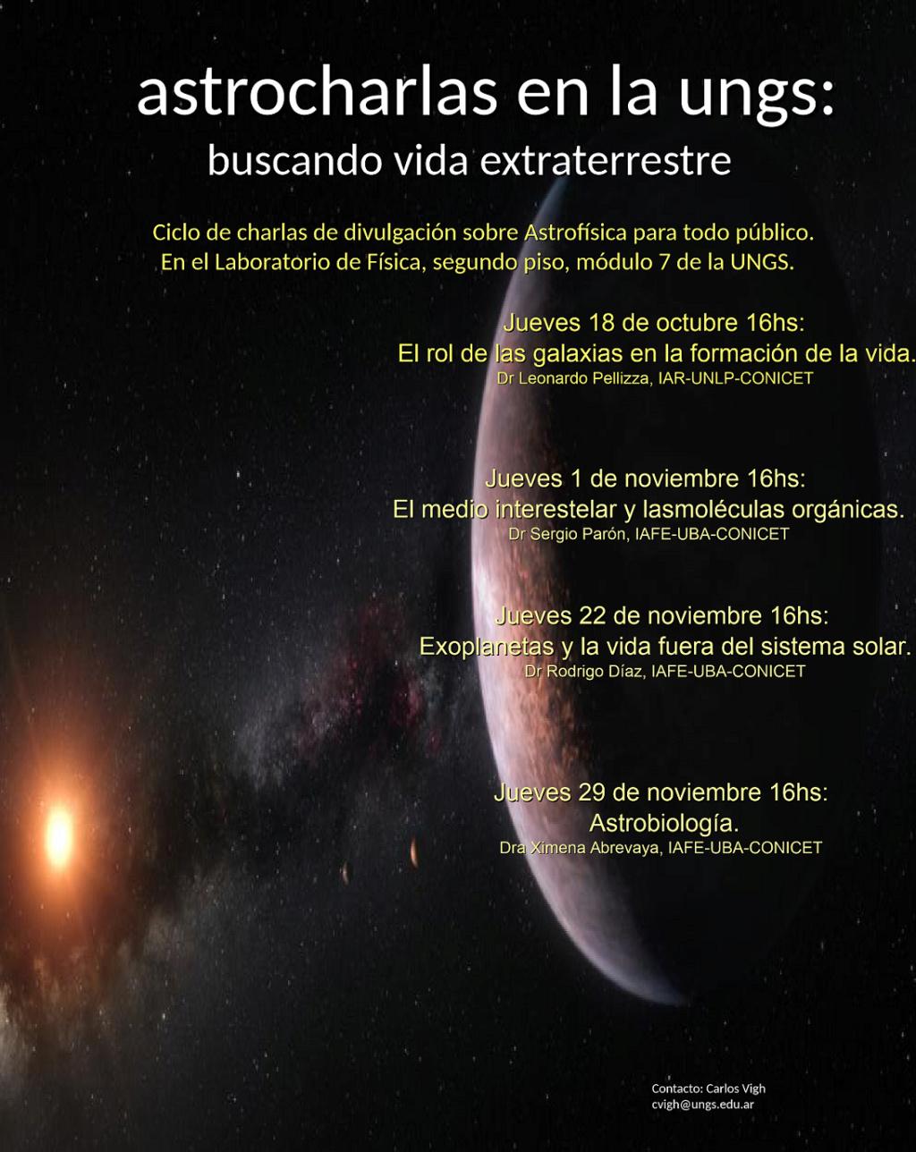 Charlas de divulgación del área de física del Instituto de Ciencias (ICI) de la UNGS Astro10