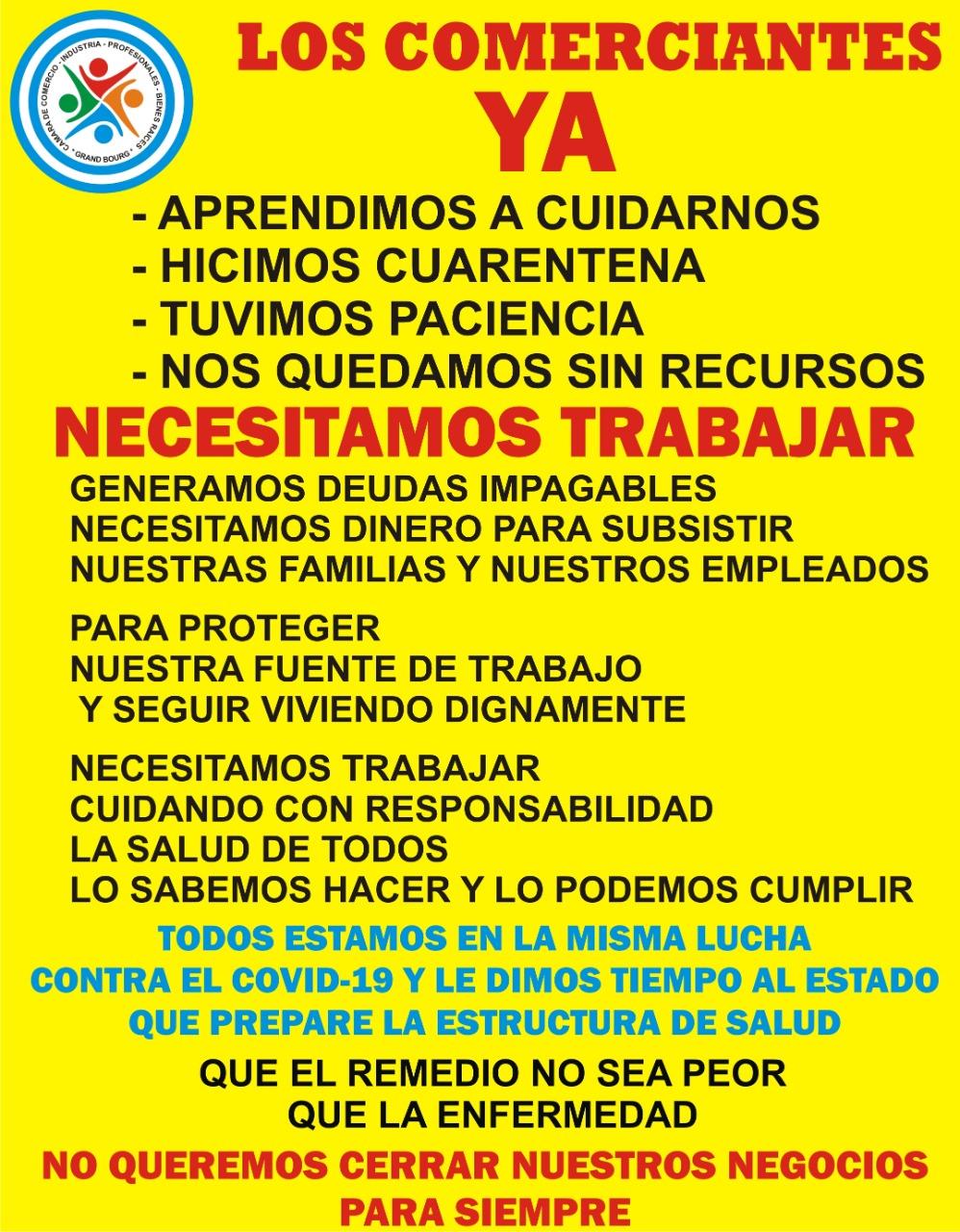 Malvinas Argentinas: Comunicado de la Cámara de Comercio de Grand Bourg. Aviso224