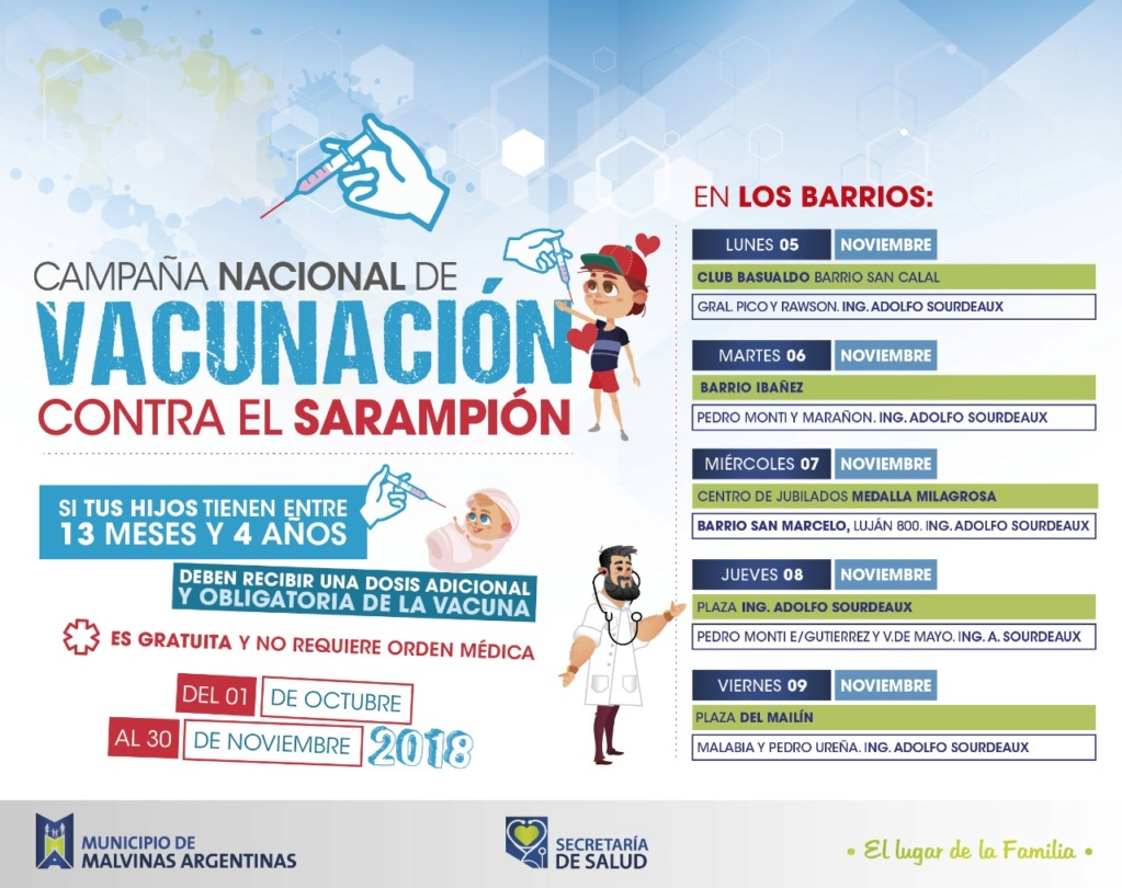 Malvinas Argentinas. Sarampión: más de 10 mil chicos vacunados. Whatsa11