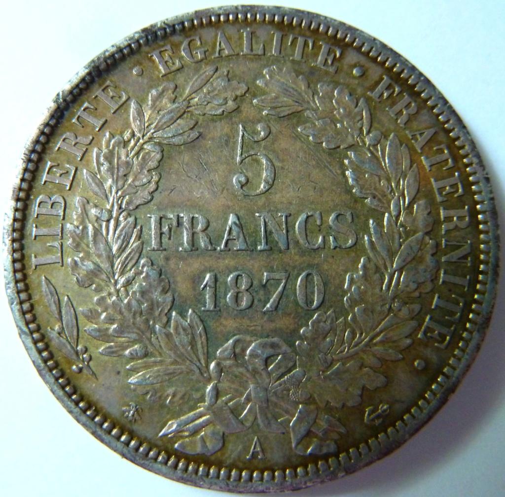 5 francos de 1870. Gobierno de Defensa Nacional Francia P1150415