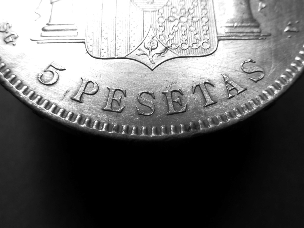5 pesetas de Alfonso XIII, 1898. Error M de Maura al reves P1160017