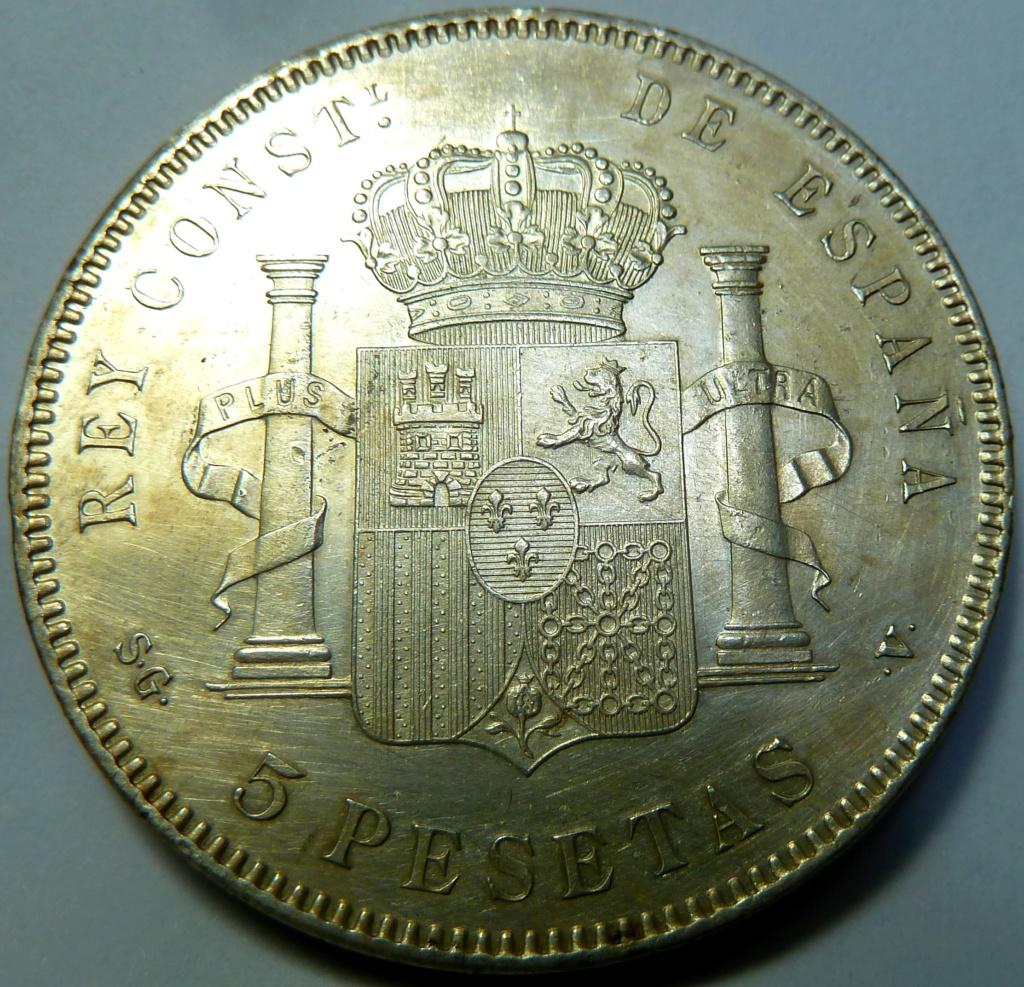 5 pesetas de Alfonso XIII, 1898. Error M de Maura al reves P1160120