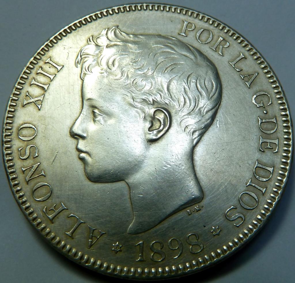 5 pesetas de Alfonso XIII, 1898. Error M de Maura al reves P1160121