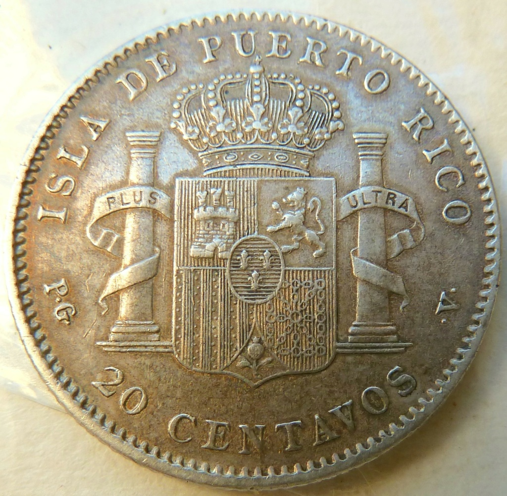 20 centavos de peso. Alfonso XIII. Puerto Rico, 1895 P1160823