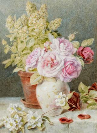 Bouquet dans un vase, une corbeille, une coupe, une poterie  08b57612