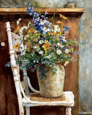Bouquet dans un vase, une corbeille, une coupe, une poterie  0ca23410