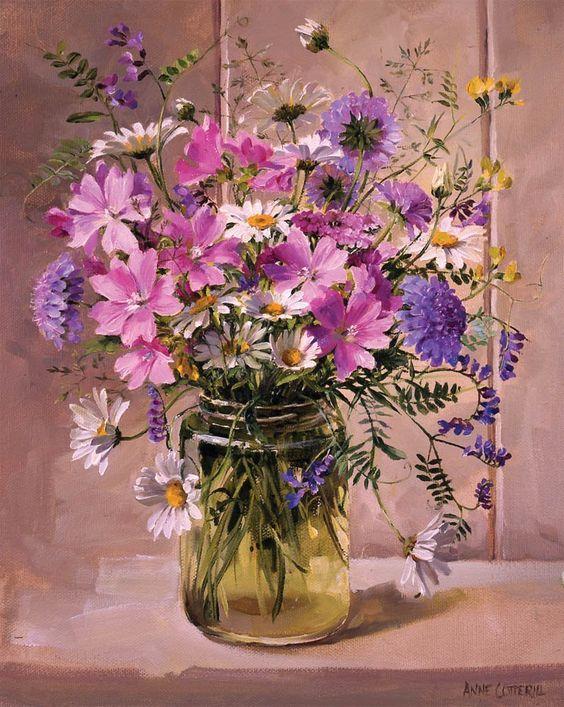 Bouquet dans un vase, une corbeille, une coupe, une poterie  0d618210