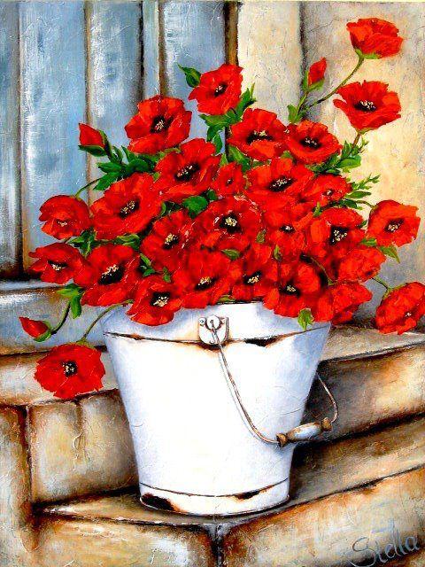 Bouquet dans un vase, une corbeille, une coupe, une poterie  - Page 2 18e02911