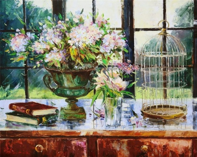 Bouquet dans un vase, une corbeille, une coupe, une poterie  - Page 2 19828f10
