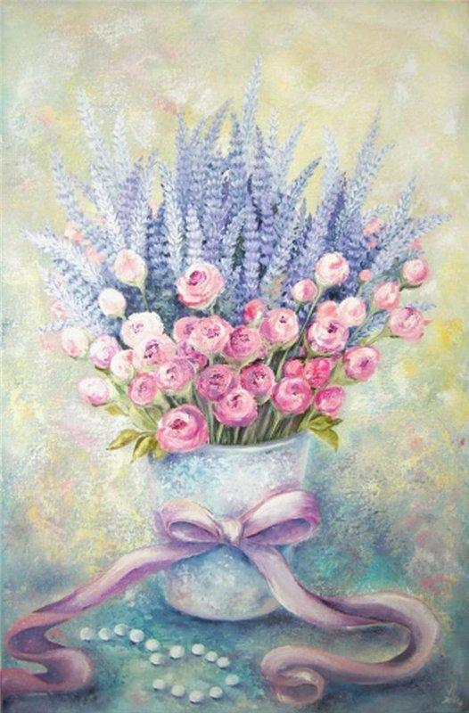 Bouquet dans un vase, une corbeille, une coupe, une poterie  1d2abd10