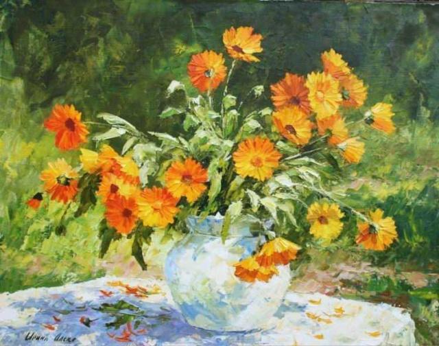 Bouquet dans un vase, une corbeille, une coupe, une poterie  - Page 2 20131010