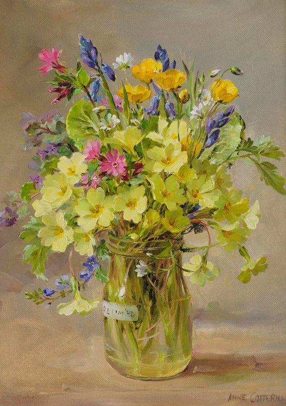 Bouquet dans un vase, une corbeille, une coupe, une poterie  2400e910