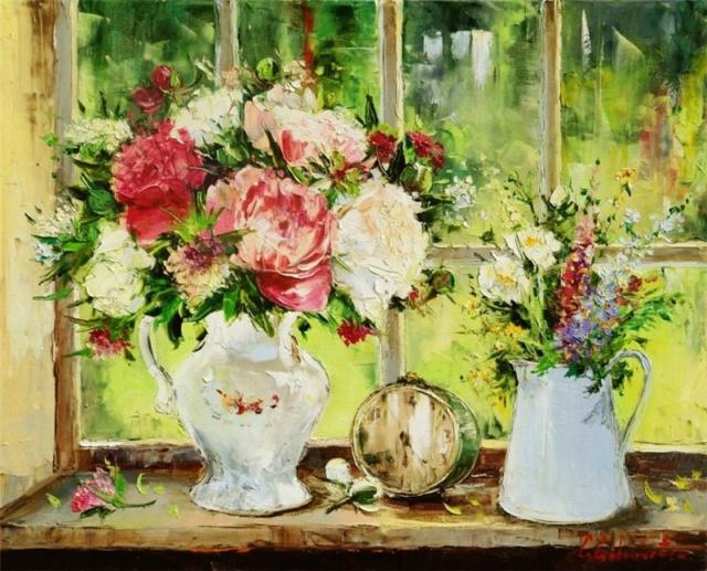 Bouquet dans un vase, une corbeille, une coupe, une poterie  30724e10