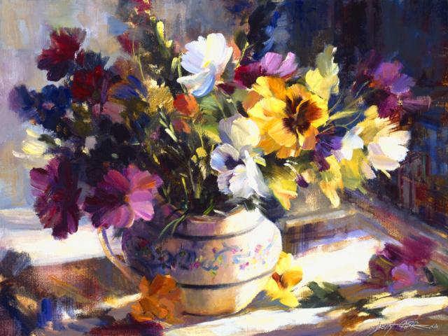 Bouquet dans un vase, une corbeille, une coupe, une poterie  3214510