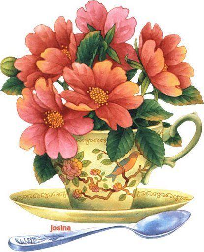 Bouquet dans un vase, une corbeille, une coupe, une poterie  56680e10