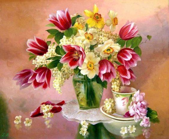 Bouquet dans un vase, une corbeille, une coupe, une poterie  - Page 2 693fcb10