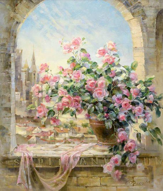 Bouquet dans un vase, une corbeille, une coupe, une poterie  7a3acf10