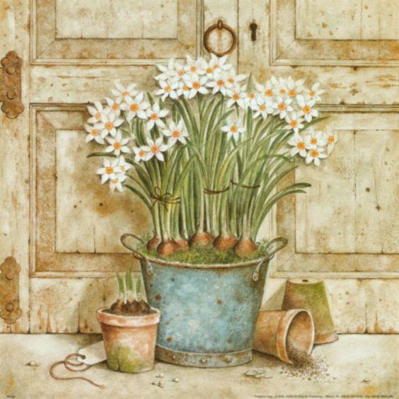 Bouquet dans un vase, une corbeille, une coupe, une poterie  7c8e7110