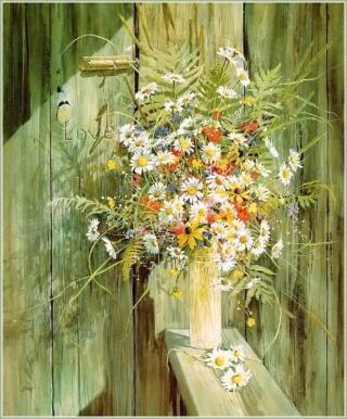 Bouquet dans un vase, une corbeille, une coupe, une poterie  8a2b7810