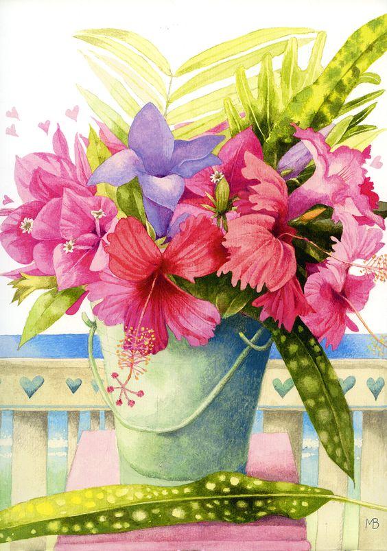 Bouquet dans un vase, une corbeille, une coupe, une poterie  - Page 2 93b9d910