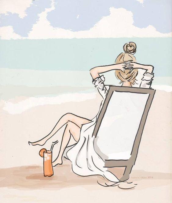 """Illustrations ... pour l'été ... Plage et """"farniente"""" ... 96918111"""