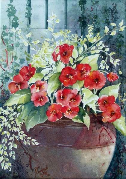 Bouquet dans un vase, une corbeille, une coupe, une poterie  - Page 2 99e54110