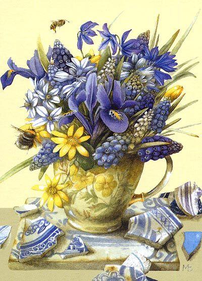 Bouquet dans un vase, une corbeille, une coupe, une poterie  9f46a510