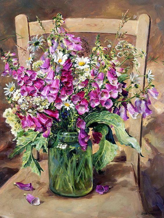 Bouquet dans un vase, une corbeille, une coupe, une poterie  A05bce10