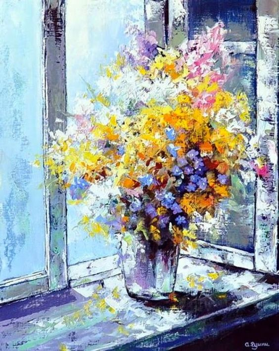 Bouquet dans un vase, une corbeille, une coupe, une poterie  Abd8b810