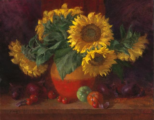 Bouquet dans un vase, une corbeille, une coupe, une poterie  - Page 2 Arnett10