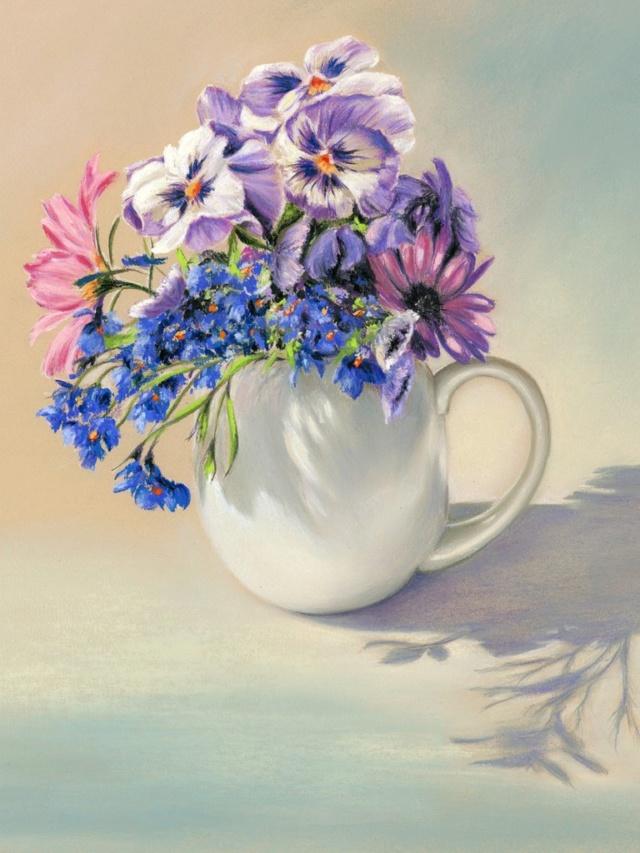 Bouquet dans un vase, une corbeille, une coupe, une poterie  - Page 2 Blatha10