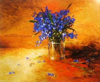 Bouquet dans un vase, une corbeille, une coupe, une poterie  Bluebe10