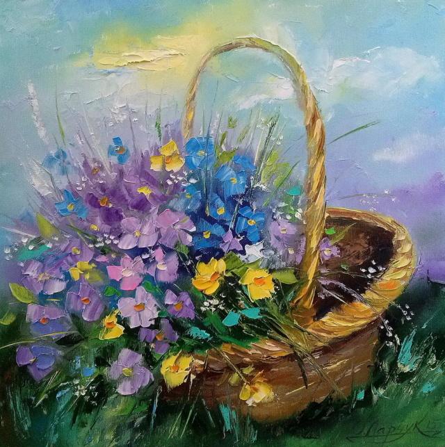 Bouquet dans un vase, une corbeille, une coupe, une poterie  - Page 2 Bouque11